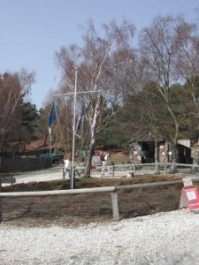 The Trading Post and Flag Pole at the Scout Camp on the Island
